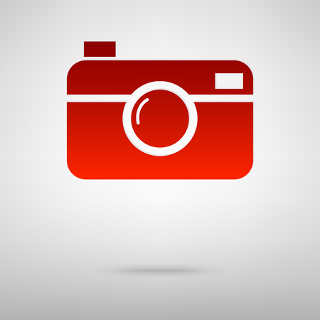 Camera red icon on the grey background