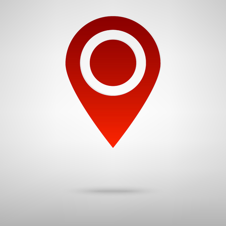 inform: Map pointer red icon on the grey background Illustration