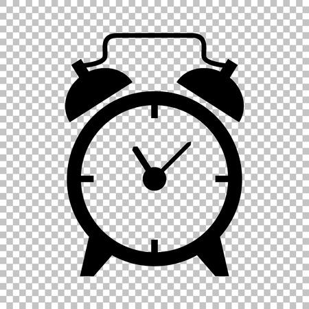 目覚まし時計の標識です。透明な背景にフラット スタイル アイコン