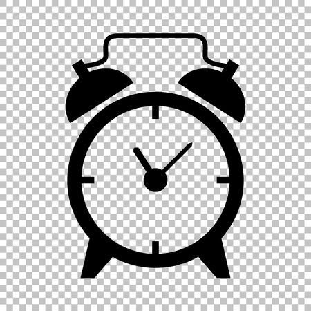 Alarm clock sign. Flat style icon on transparent background