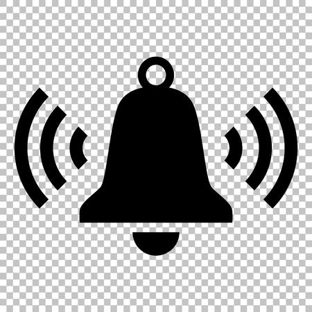 Dzwonienie ikonę dzwonka. Ikona płaskim stylu na przezroczystym tle