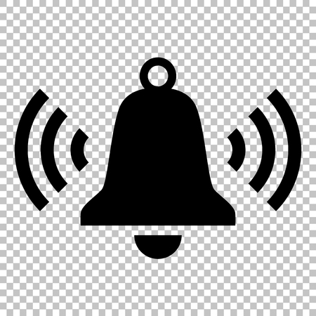 Sonando icono de campana. icono de estilo plano en el fondo transparente