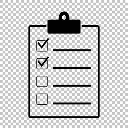 Checkliste zu unterzeichnen. Wohnung Stil-Ikone auf transparentem Hintergrund Vektorgrafik