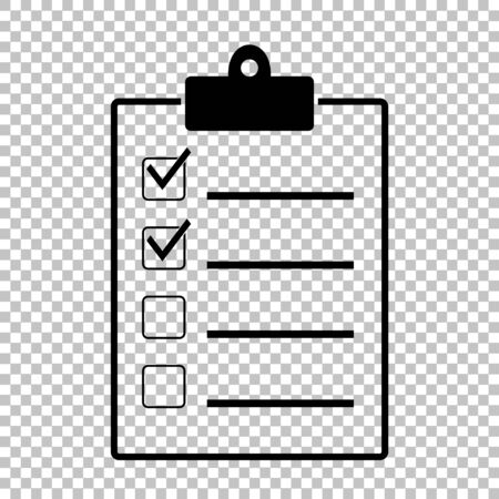 Checklist sign. Flat style icon on transparent background