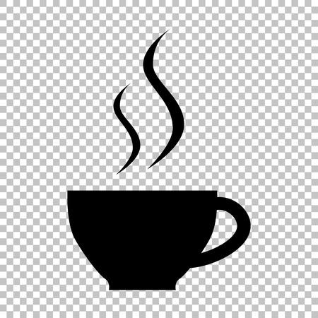 Puchar znak kawy. Ikona stylu płaskim na przezroczystym tle