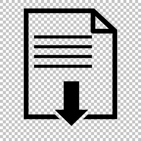 ファイルのダウンロードのサイン。透明な背景にフラット スタイル アイコン