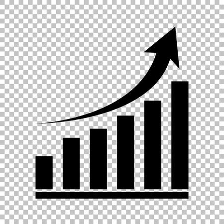 成長グラフの記号。透明な背景にフラット スタイル アイコン