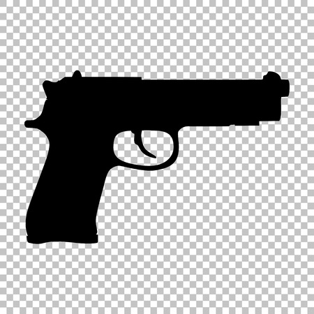 Gun sign. Flat style icon on transparent background
