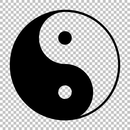 Ying-Yang-Symbol der Harmonie und Gleichgewicht. Wohnung Stil-Ikone. Schwarz auf transparentem Hintergrund Vektorgrafik