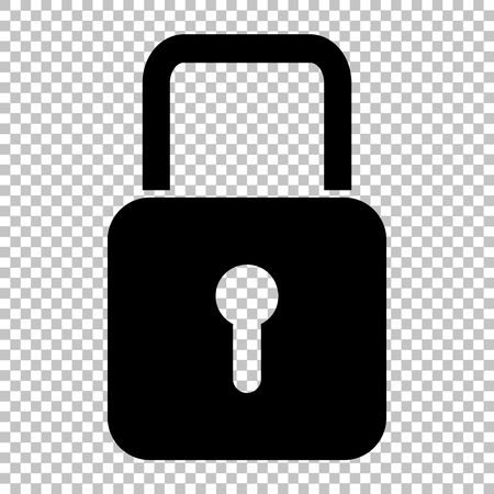 black metallic background: Lock sign. Flat style icon on transparent background