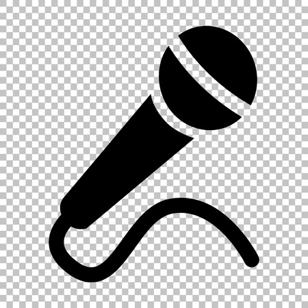 Microphone sign. Flat style icon on transparent background
