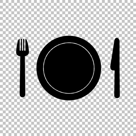stainless background: Fork, plate and knife. Flat style icon on transparent background Illustration