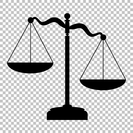 正義のスケールに署名します。透明な背景にフラット スタイル アイコン