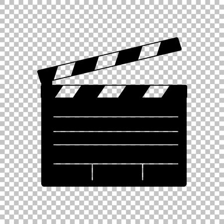 Film clap pokładzie kino znak. Ikona płaskim stylu na przezroczystym tle