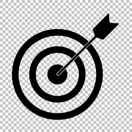 objectives: Target with dart. Flat style icon on transparent background