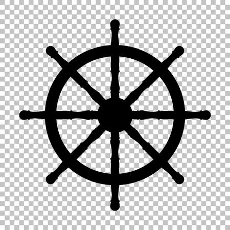 Schip wiel teken. Flat stijlicoon op transparante achtergrond