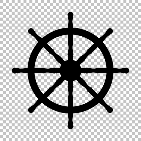ship wheel: Ship wheel sign. Flat style icon on transparent background