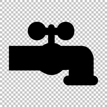 spew: Water faucet sign. Flat style icon on transparent background