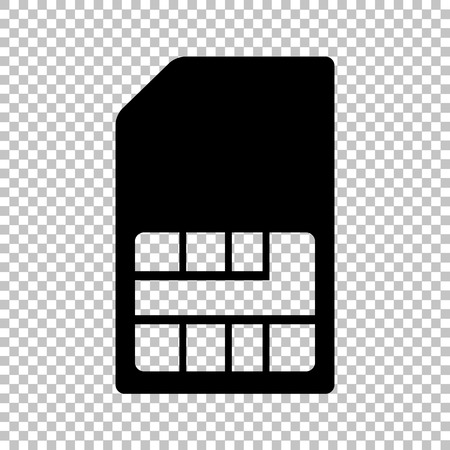 prepaid card: Sim card sign. Flat style icon on transparent background