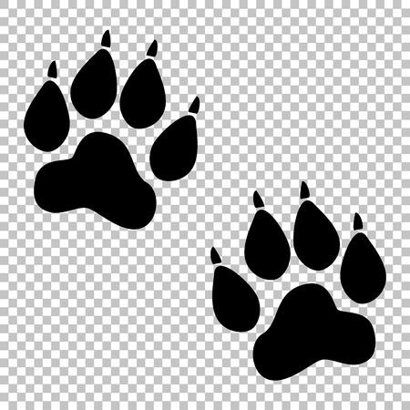 huella pie: Pistas animales firman. icono de estilo plano en el fondo transparente Vectores