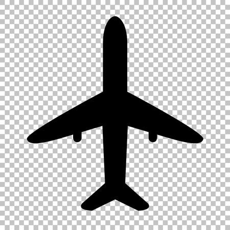 Samolot znak. Ikona płaskim stylu na przezroczystym tle