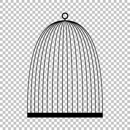 black bird: Bird cage sign. Flat style icon vector illustration.