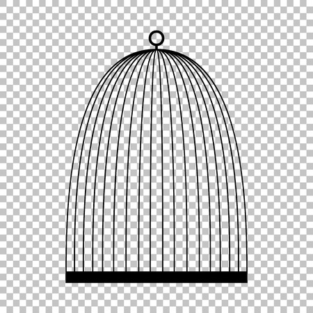oiseau dessin: Oiseau signe cage. ic�ne vecteur plat de style illustration.
