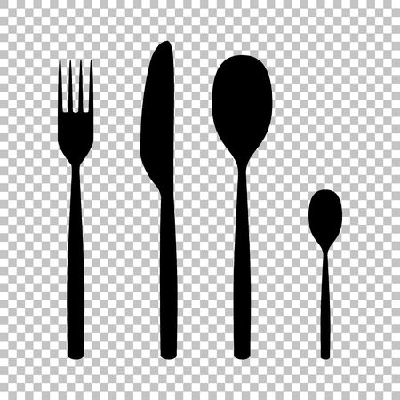 Fork spoon and knife sign. Flat style icon on transparent background Ilustração