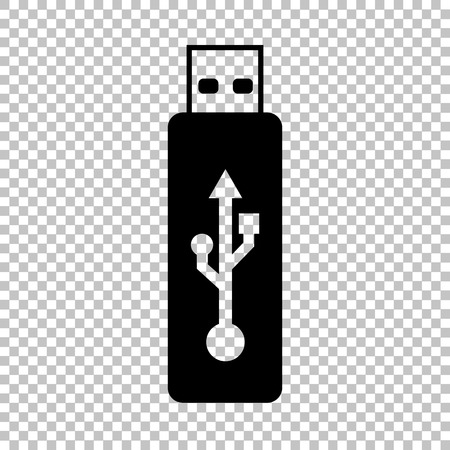 pocket pc: Vector usb flash drive sign. Flat style icon on transparent background