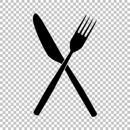 Widelec i nóż znak. Ikona płaskim stylu na przezroczystym tle