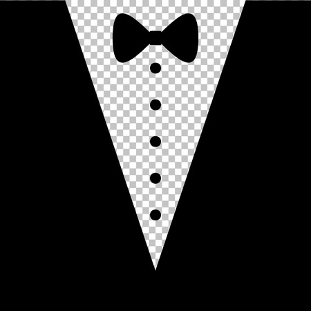 beautiful dress: Tuxedo with bow silhouette. Flat style icon on transparent background