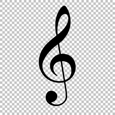 Musica violino segno di chiave. icona di stile piatto su sfondo trasparente Vettoriali