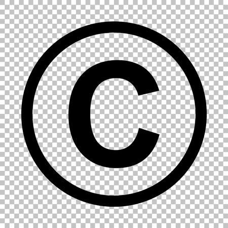 著作権、著作権記号。透明な背景にフラット スタイル アイコン