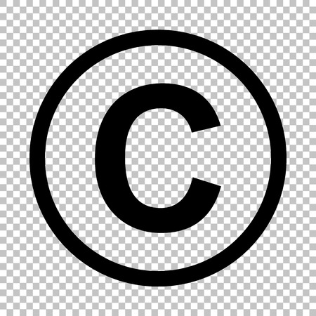 Copyright sign. Flat style icon on transparent background