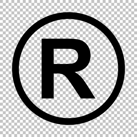 商標記号を登録しました。透明な背景にフラット スタイル アイコン  イラスト・ベクター素材