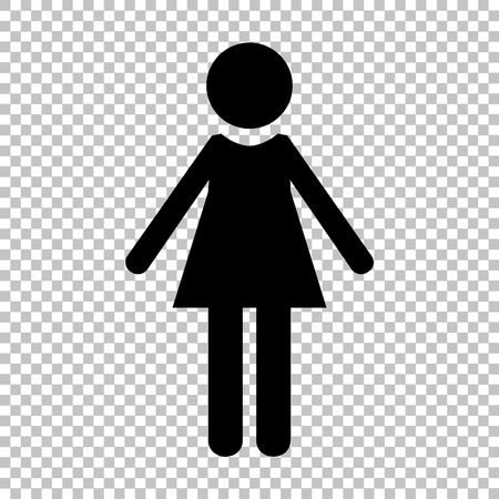 Woman sign. Flat style icon on transparent background