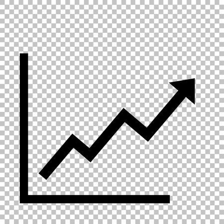 Growing bars graphic sign. Flat style icon on transparent background