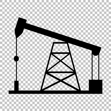 drilling rig: Oil drilling rig sign. Flat style icon on transparent background Illustration