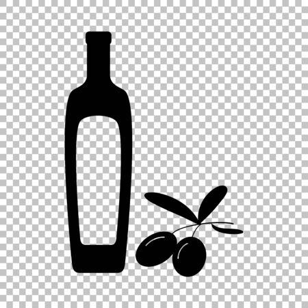 salad dressing: Black olives branch with olive oil bottle sign. Flat style icon on transparent background