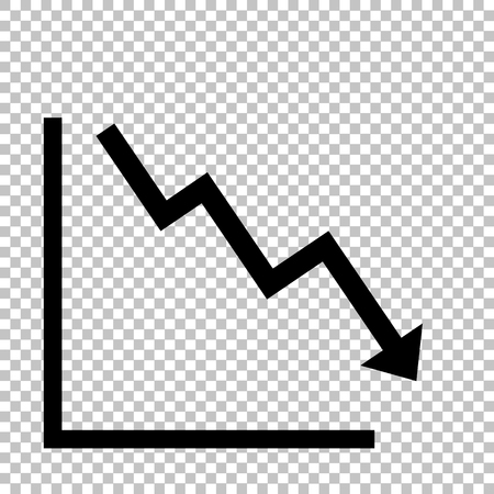 downwards: Arrow pointing downwards showing crisis. Flat style icon on transparent background