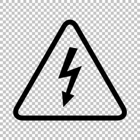 High voltage danger sign. Flat style icon on transparent background Illustration