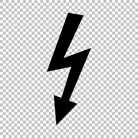 voltage danger: High voltage danger sign. Flat style icon on transparent background Illustration