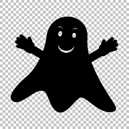 ghastly: Ghost isolated sign. Flat style icon on transparent background