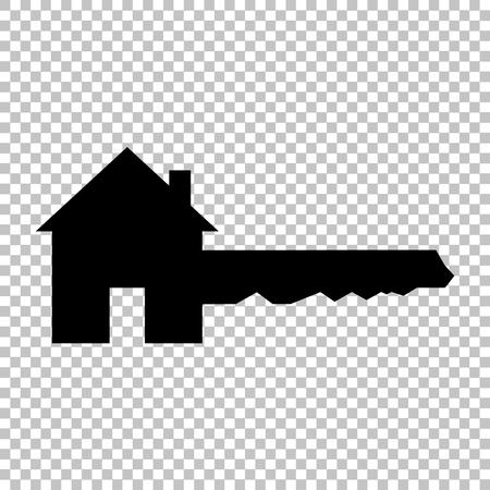 Znak klucza do domu. Ikona stylu płaski na przezroczystym tle