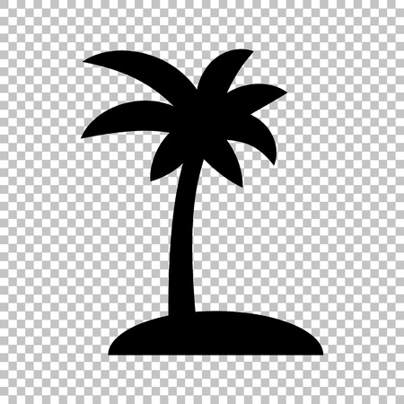 tree silhouettes: Coconut palm tree sign. Flat style icon on transparent background Illustration