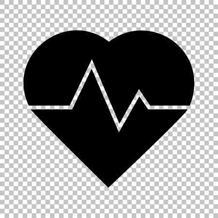 heartbeat line: Heartbeat sign. Flat style icon on transparent background
