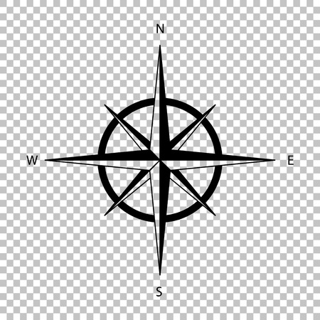 Wind rose sign. Flat style icon on transparent background