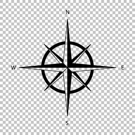 Rosa dei venti segno. icona di stile piatto su sfondo trasparente