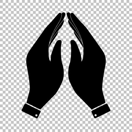 www arm: Hand icon. Prayer symbol. Flat style icon on transparent background