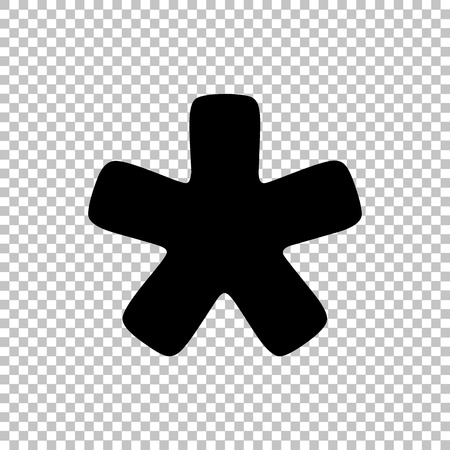 reference point: Asterisk star sign. Flat style icon on transparent background